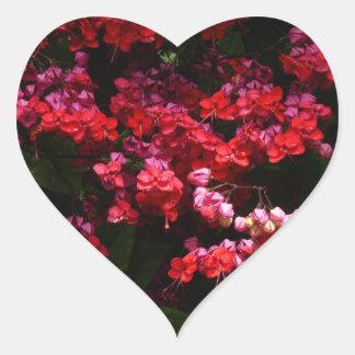 Pagoden-Blumen-buntes rotes und rosa Blumen Herz-Aufkleber