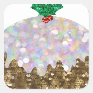Pailletteweihnachtspuddings Quadratischer Aufkleber