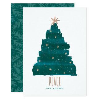 Painterly Baum-WeihnachtsFoto-Karte 12,7 X 17,8 Cm Einladungskarte