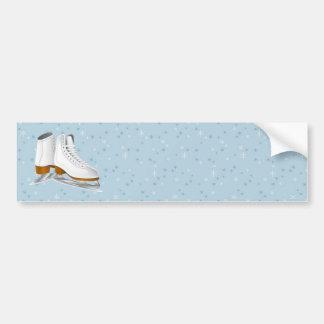paires de patins de glace blancs autocollant de voiture