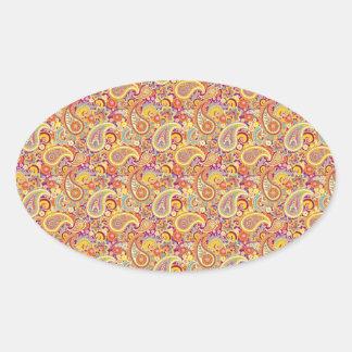 Paisley espiègle sticker ovale