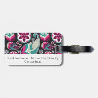 Paisley-Muster-Rosa und aquamarines Kofferanhänger