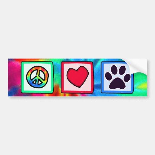 Paix, amour, chien ; Pawprint Adhésif Pour Voiture