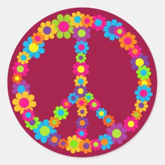 Paix de flower power sticker rond