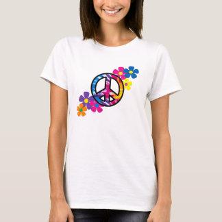 Paix et T-shirt de hippie des fleurs 60s