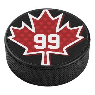 Palet De Hockey Galet d'hockey à pois rouge de feuille d'érable