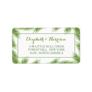 Palmblatt-tropische Strand-Hochzeit Adressetikett