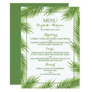 Palmblatt-tropisches Strand-Hochzeits-Menü 11,4 X 15,9 Cm Einladungskarte