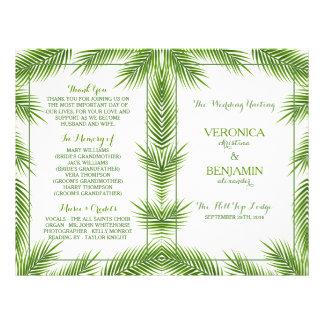 Palmblatt-tropisches Strand-Hochzeits-Programm 21,6 X 27,9 Cm Flyer