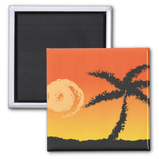 Palme am Sonnenuntergang-Magneten Quadratischer Magnet