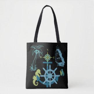 Palme-Bootfahrt-Helm-Kompass-Anker-Seepferd Tasche
