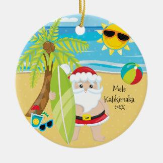 Palme, die Sankt-Hawaiianer-Weihnachten surft Keramik Ornament