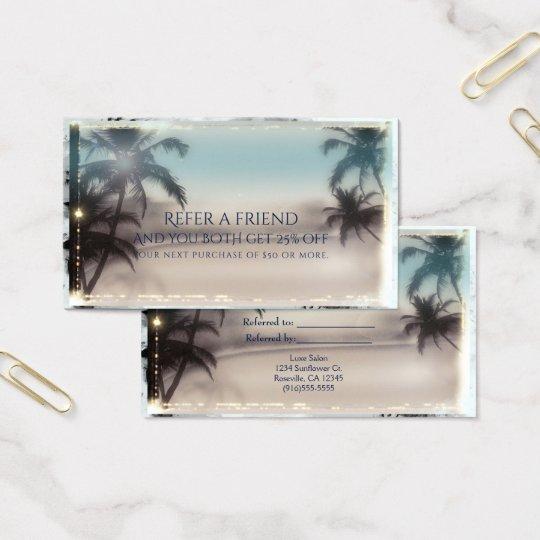 Palme-eleganter tropischer Strand verweisen einen Visitenkarte