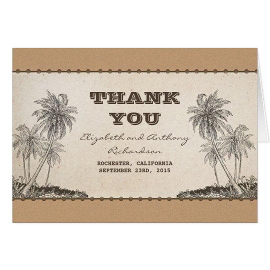 Palme-Hochzeit in Urlaubsort danken Ihnen Mitteilungskarte