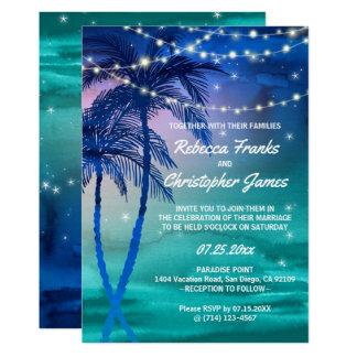 Palme-Schnüre der Lichter, die Einladungen Wedding Karte
