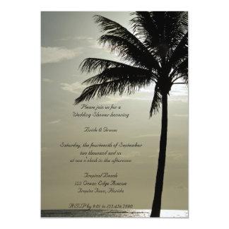 Palme-Silhouette-Strand-Polterabend laden ein 12,7 X 17,8 Cm Einladungskarte