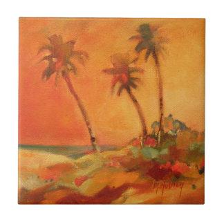 Palme-Sonnenuntergang-Strand-Dünen Keramikfliese