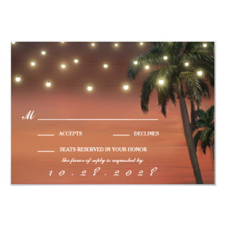 Palme-Sonnenuntergang-Strand-Hochzeit UAWG Karten 8,9 X 12,7 Cm Einladungskarte