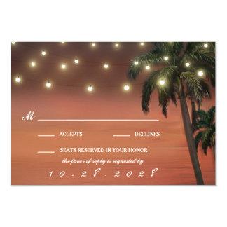 Palme-Sonnenuntergang-Strand-Hochzeit UAWG Karten Karte