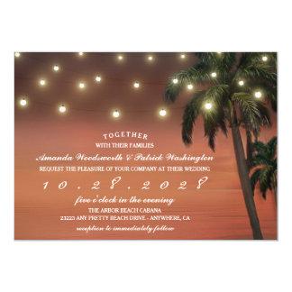 Palme-Sonnenuntergang-Strand-Hochzeits-Einladungen Karte