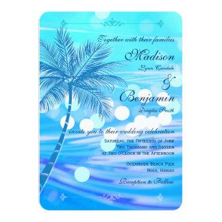 Palme-Strand-Hochzeit in Urlaubsorts-Einladungen 11,4 X 15,9 Cm Einladungskarte