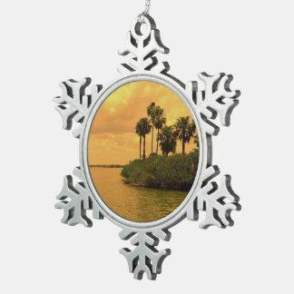 Palme-Träumerei Schneeflocken Zinn-Ornament