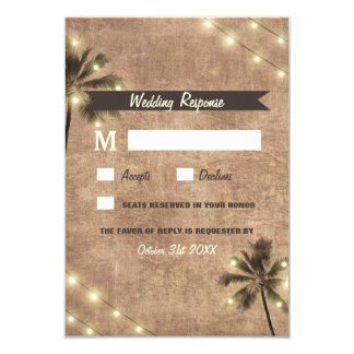 Palme-Vintage Licht-Strand-Hochzeit UAWG Karten Karte