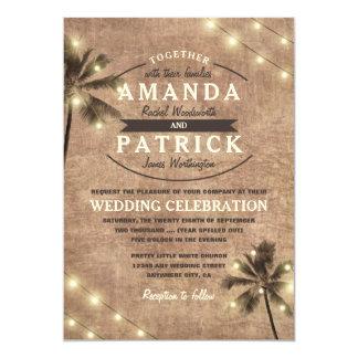 Palme-Vintage Licht-Strand-Hochzeits-Einladungen Karte
