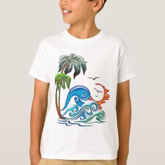 Palmen 3D, Wellen u. Sonnenuntergang T-Shirt