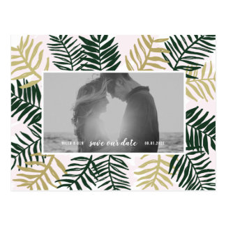 Palmen-Flucht-Save the Date Postkarten