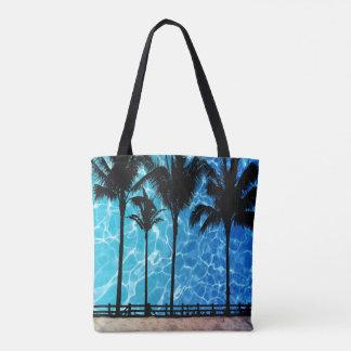 Palmen mit Wasser-Reflexions-grafischer Tasche