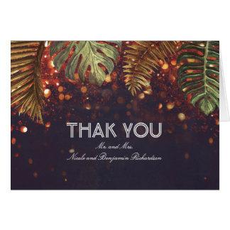 Palmen-Schnur-Licht-Strand-Hochzeit danken Ihnen Karte