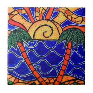 Palmen Sonnenuntergang-in der tropischen Keramikfliese