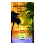 Palmen und ein tropischer Sonnenuntergang Visitenkartenvorlagen