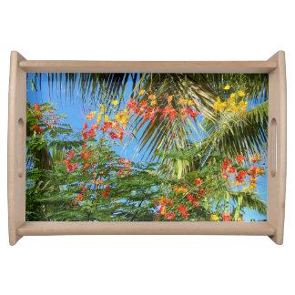 Palmen und karibische Blumen! Entwurf Serviertabletts