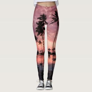 Palmen und Sonnenuntergang-Gamaschen Leggings
