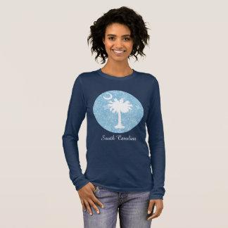 Palmetto-Baum-und Mond-Schneeflocke-Entwurf Langarm T-Shirt