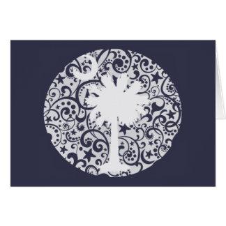 Palmetto-Baum und Mond-Weihnachtskarte Karte