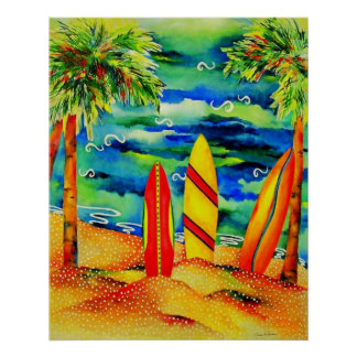 Palms and Surf Poster