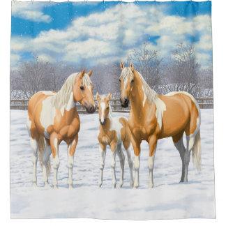 Palomino-Farben-Pferde im Schnee Duschvorhang