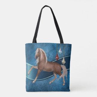 Palomino-Pferd auf blauer Tasche Bage
