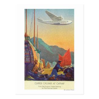 Pan-Amerikanischer Scherer, der über China fliegt Postkarte