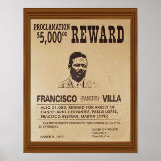 Pancho Landhaus-Vintage gewollte Plakat-Belohnung Poster