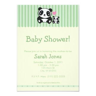 Panda-Babyparty - Grün u. Creme 12,7 X 17,8 Cm Einladungskarte