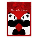Panda-Bärn-Freund-frohe Weihnacht-Gruß Grußkarten