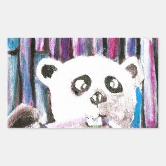 Panda espiègle sticker rectangulaire