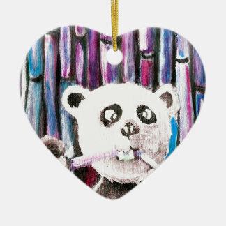Panda espiègle ornement cœur en céramique
