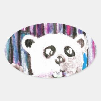 Panda espiègle sticker ovale