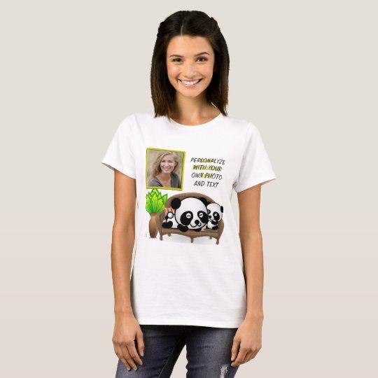 Panda, grüne Pflanze - fügen Sie IHR Foto u. Text T-Shirt