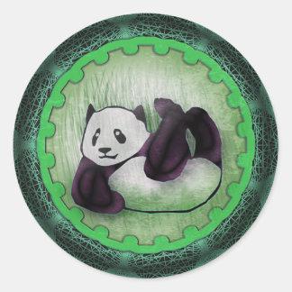 Panda grunge espiègle croulant de style sticker rond